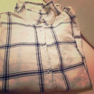 H&M Women's Black/Cream Plaid Button Down Shirt 6